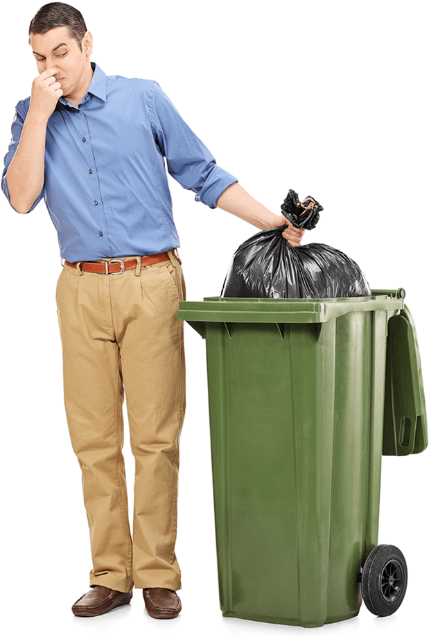 image of a man holding a smelly waste bag